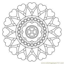 Circle love hearts Free Coloring Page for Kids