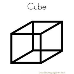 Cube Shape Free Coloring Page for Kids