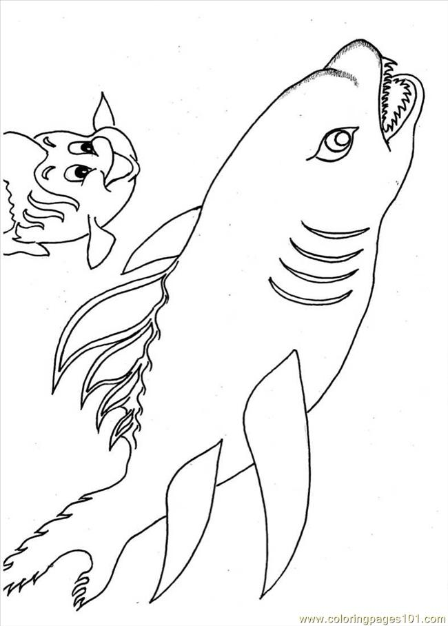 Little Fish And Shark Full Coloring Page