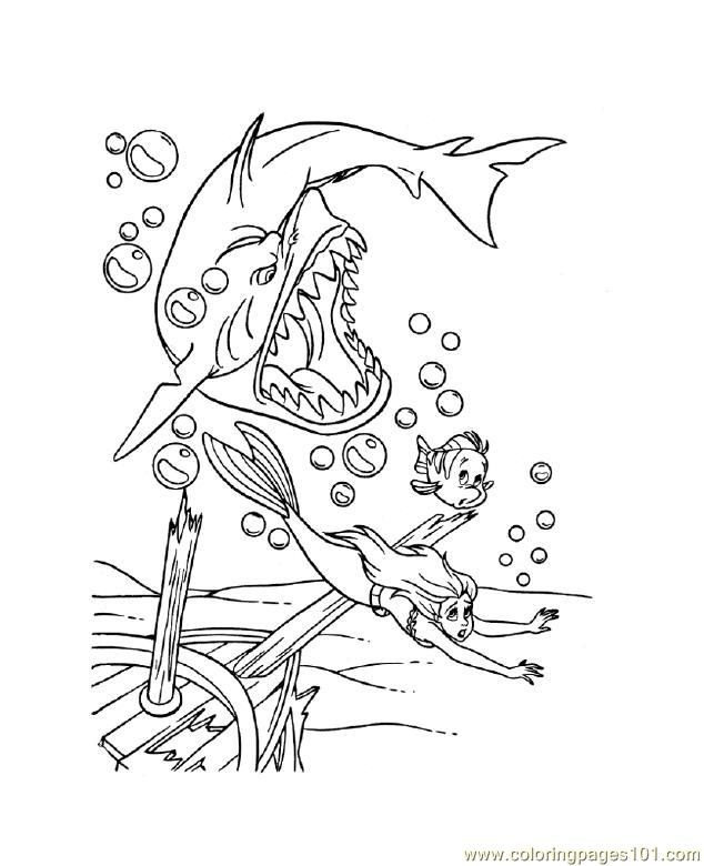 Shark In Bubles Coloring Page