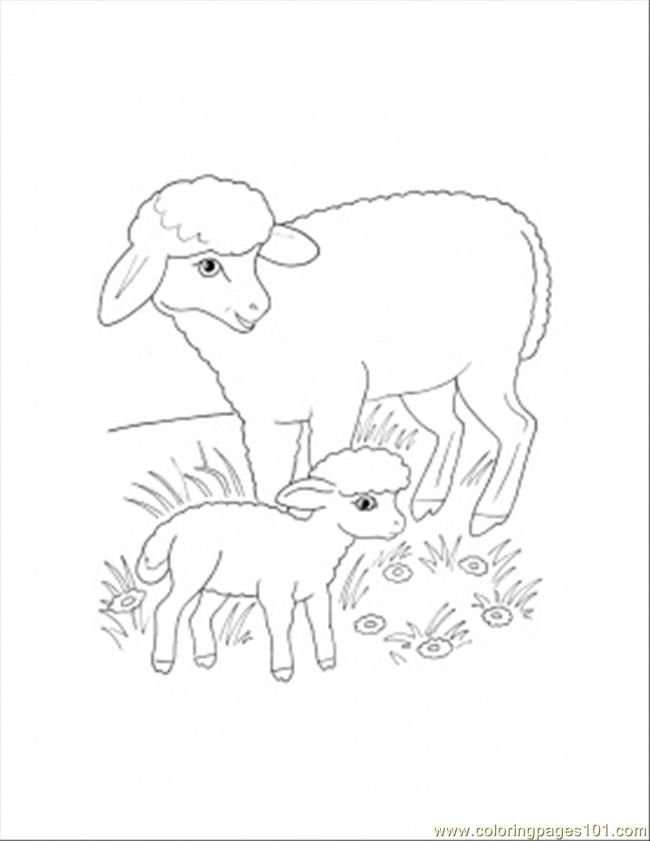 Mother and lamb coloring page coloring page free sheep for Lamb coloring page