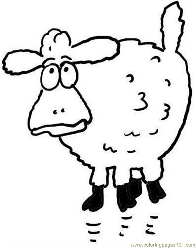 Surprised Sheep Coloring Page