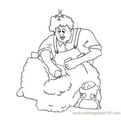 Shaving a Sheep Free Coloring Page for Kids