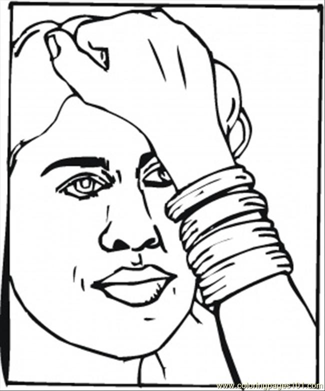 Girl In A Braclet Coloring Page