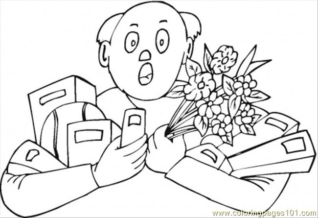 Husband With Tones Of Presents Coloring Page