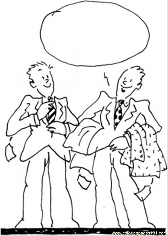 Men At The Shopping Coloring Page