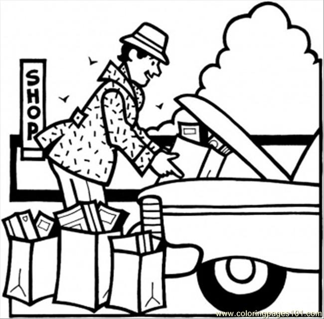 Putting Presents In The Car Coloring Page