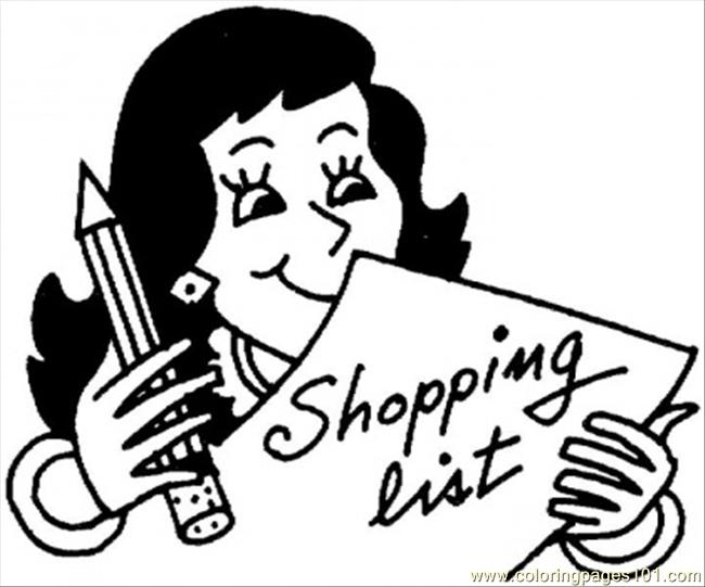 Shopping List Coloring Page