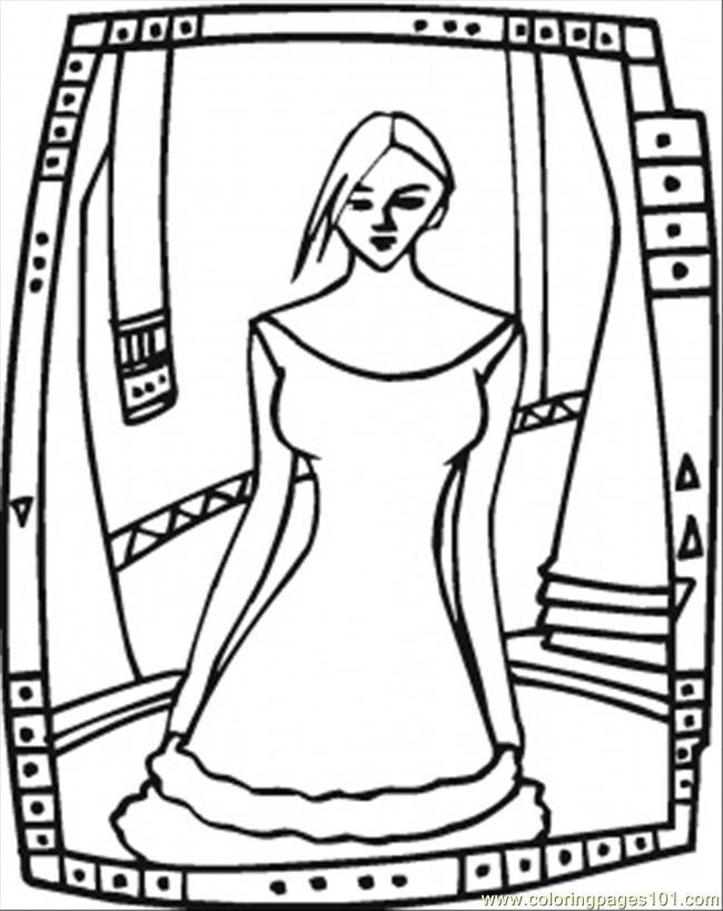 Trying On The Dress Coloring Page