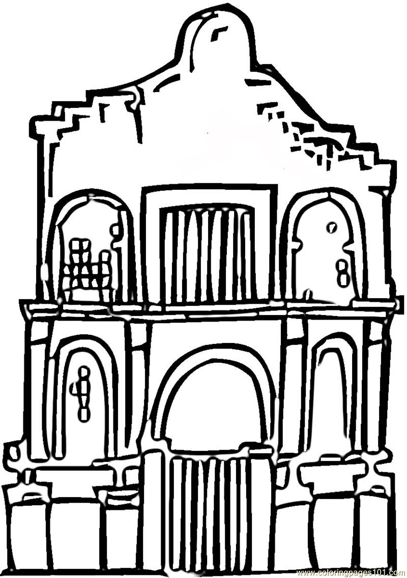 Alamo Coloring Page Free Sightseeing Coloring Pages