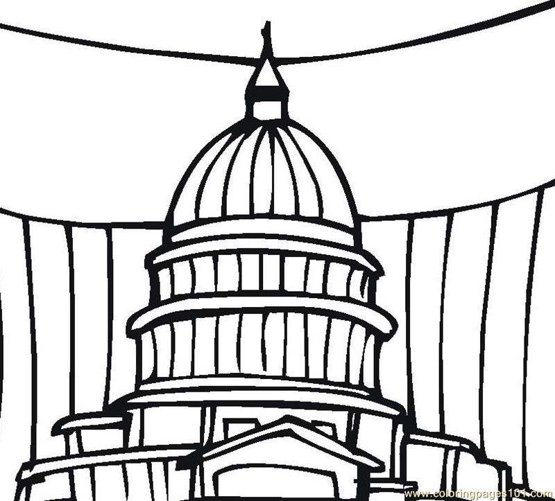 Government in Washington Coloring Page Free Sightseeing Coloring