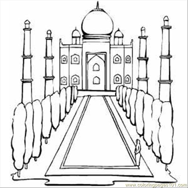 Taj Mahal In India Coloring Page