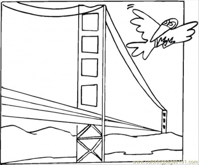 Bird Is Flying Over The Bridge Coloring Page
