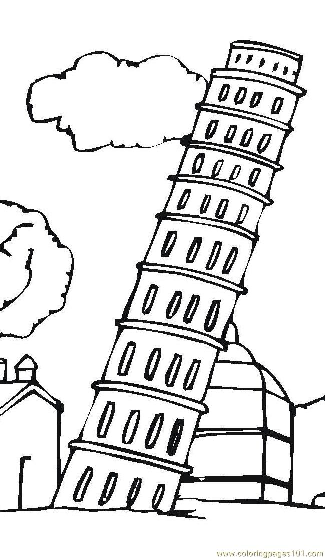 leaning tower of pisa Coloring Page - Free Sightseeing ...