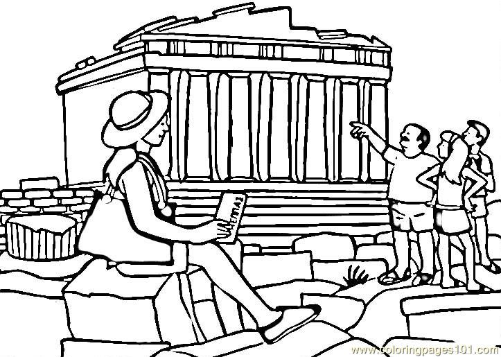 Parthenon Coloring Page Free Sightseeing Coloring Pages