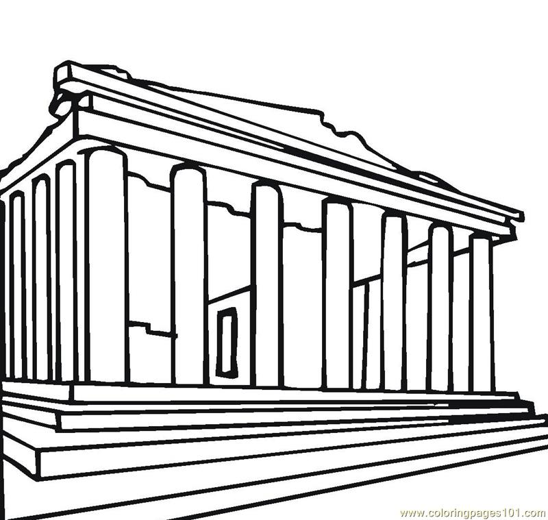 Parthenon greece Coloring Page Free Sightseeing Coloring