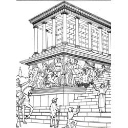 Great altar of Zeus at Perg Free Coloring Page for Kids