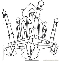 Taj mahal Free Coloring Page for Kids