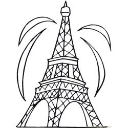 The eiffel tower Free Coloring Page for Kids