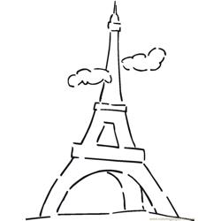 The eiffel tower in clouds Free Coloring Page for Kids