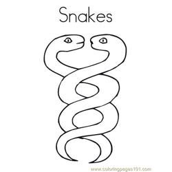 2 snakes Free Coloring Page for Kids