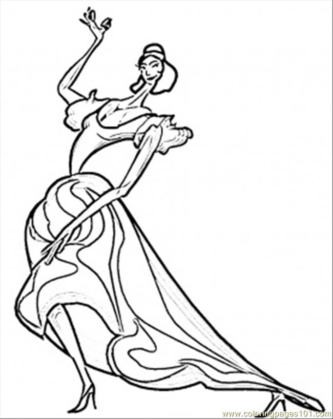 Passionate Spanish Flamenco Coloring Page Free Spain