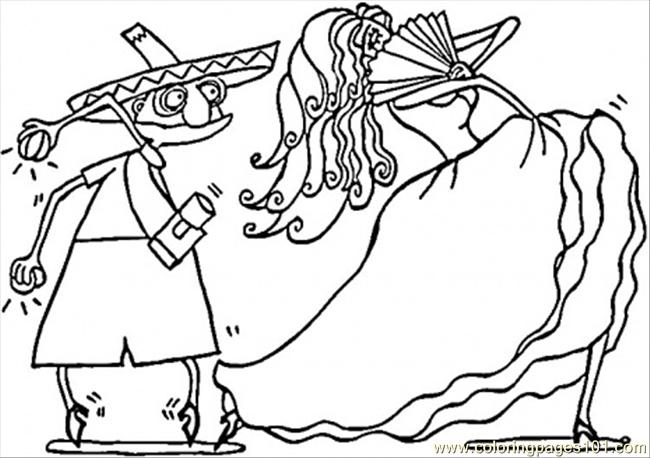 spanish coloring pages for adults | Spanish Couple Of Dancers Coloring Page - Free Spain ...