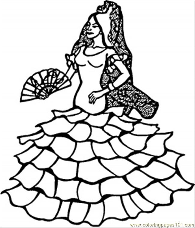 spanish coloring pages for adults | Spanish Dancer printable coloring page for kids and adults
