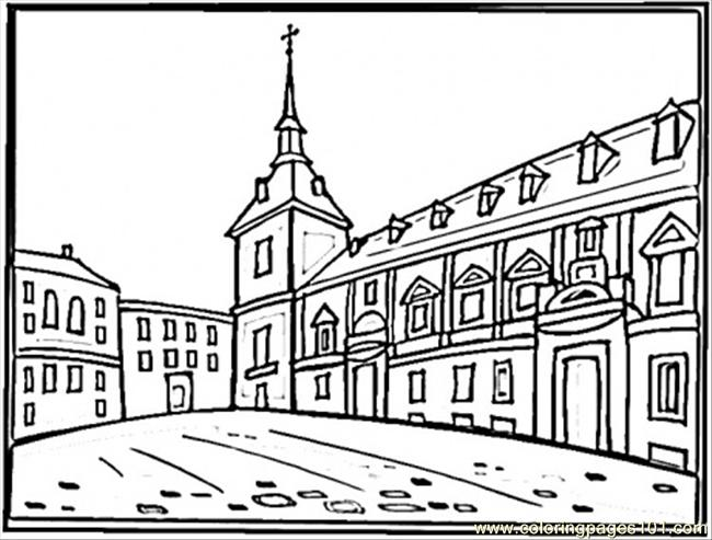 Square In Madrid Coloring Page