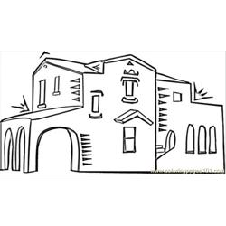 Spanish Architecture Free Coloring Page for Kids