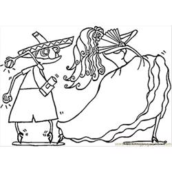 Spanish Couple Of Dancers Free Coloring Page for Kids