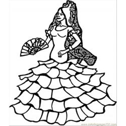 Spanish Dancer Free Coloring Page for Kids