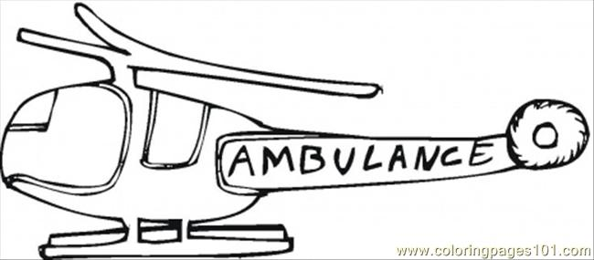 Ambulance Helicopter Coloring Page