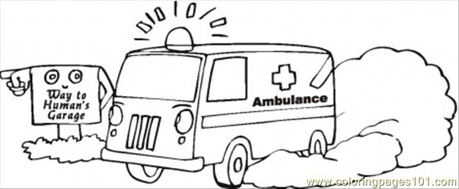 Ambulance Lost In Her Way Coloring Page