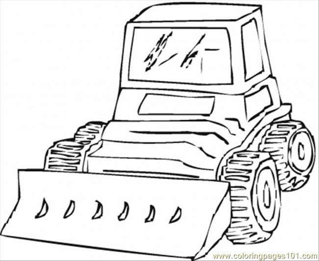 Bulldozer Is Vreaking All Around Coloring Page
