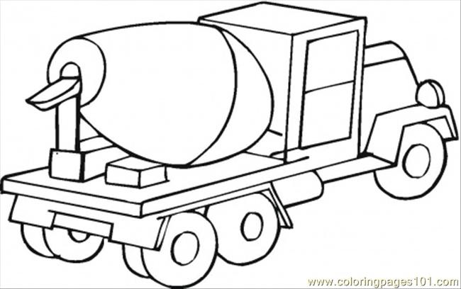 Cement Mixer Car Coloring Page