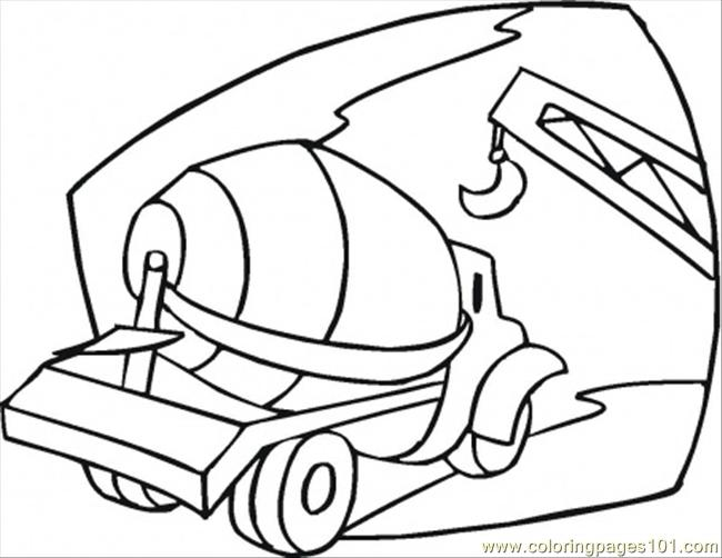 Cement Mixer On The Building Site Coloring Page