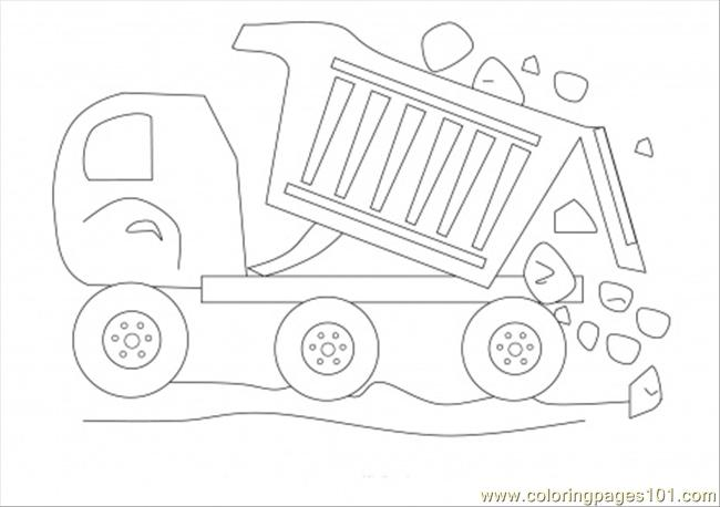 Dumptruck With Stones Coloring Page