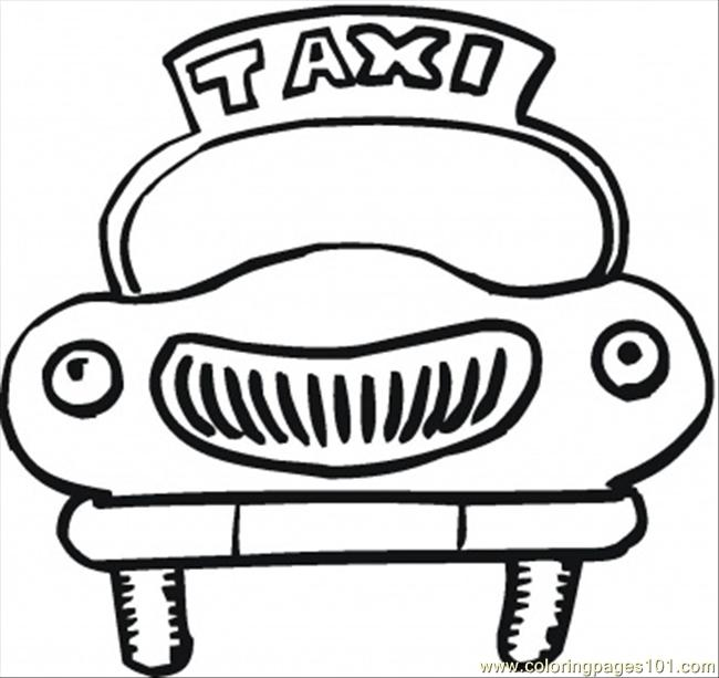 Funny Taxi Car Coloring Page