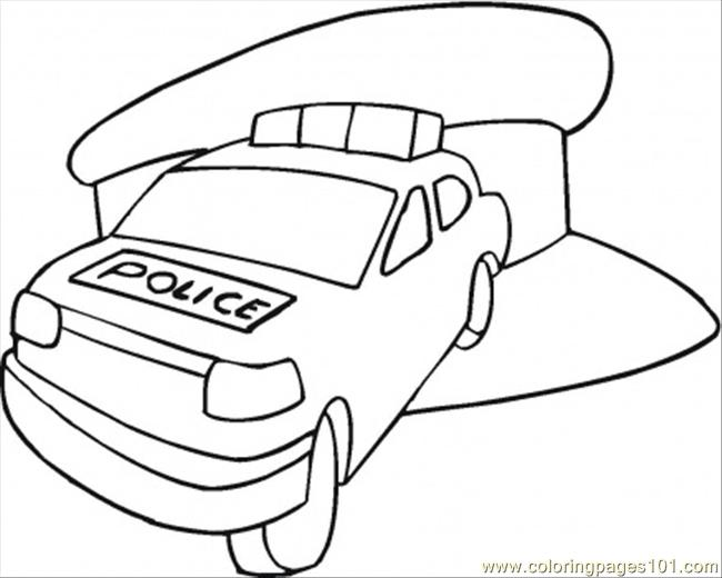 Police Car In The Station Coloring Page