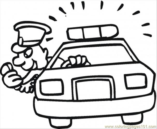 Policeman Is Pursuiting Robber Coloring Page