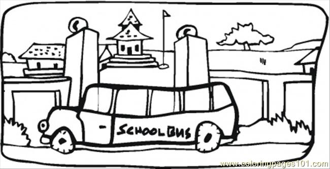School Bus In The Town Coloring Page