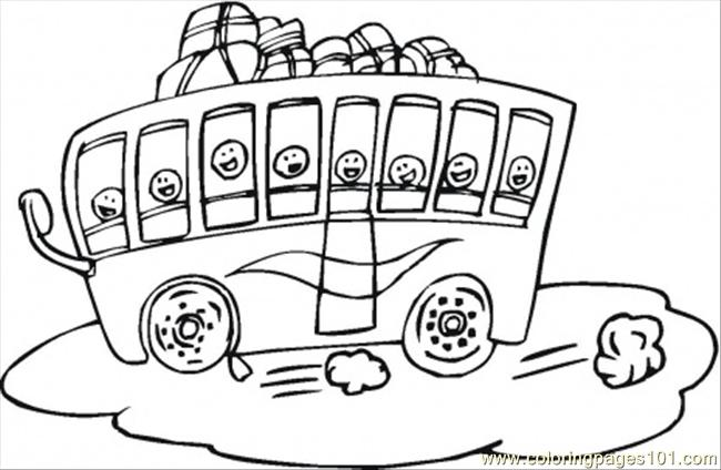 Touris Bus For Children Coloring Page