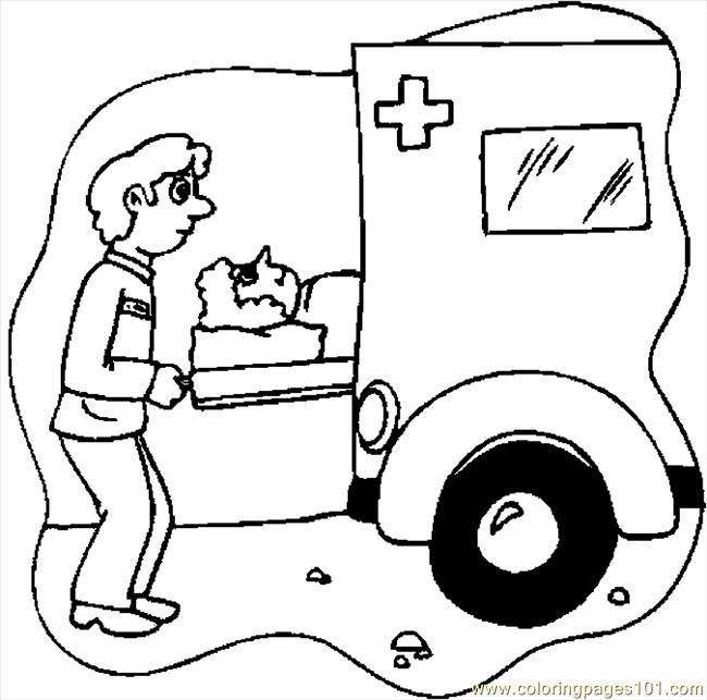 Ambulance Driver 1 Coloring Page