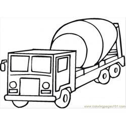 Cement Mixer Free Coloring Page for Kids