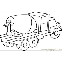Cement Mixer Car Free Coloring Page for Kids