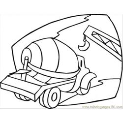 Cement Mixer On The Building Site Free Coloring Page for Kids