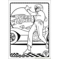Speed Racer 44 Free Coloring Page for Kids