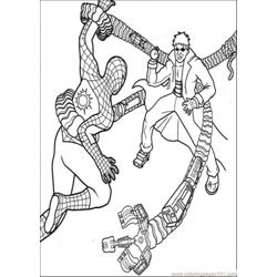 Spiderman Fights The Enemy Free Coloring Page for Kids
