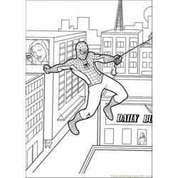 Spiderman Hangs Free Coloring Page for Kids